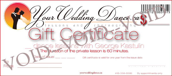 gift certificate - rates